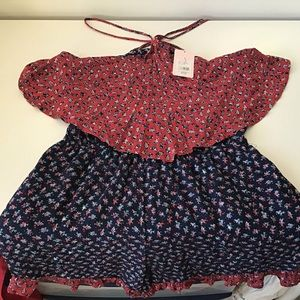 Romper Junior XL Red/Blue Small Floral NWT
